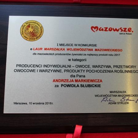 Laur Marszałka dla Powideł Słubickich i Andrzeja Markiewicza